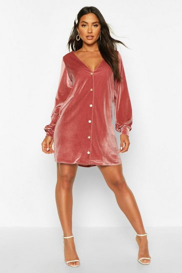 Womens Rose Balloon Sleeve Pearl Button Shift Dress