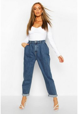 Womens Mid blue High Waisted Boyfriend Jean