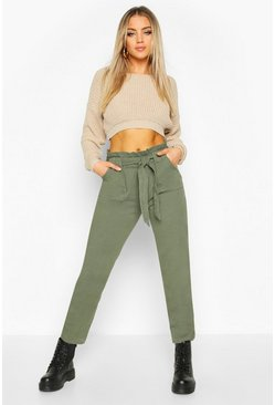 Womens Olive Tailored Tie Waist Denim Trouser
