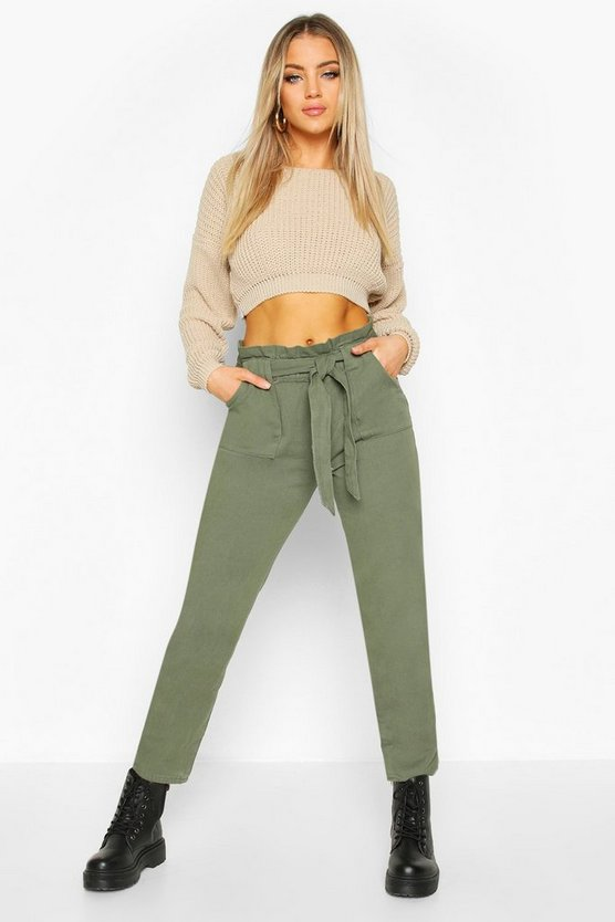 Tailored Tie Waist Denim Trouser
