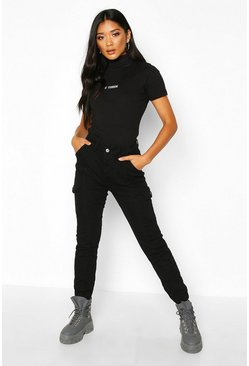 Womens Black High Waisted Utility Jean