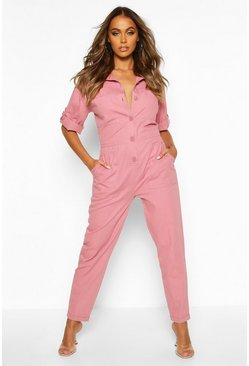 Womens Dusky pink Oversized Draw Waist Denim Boilersuit