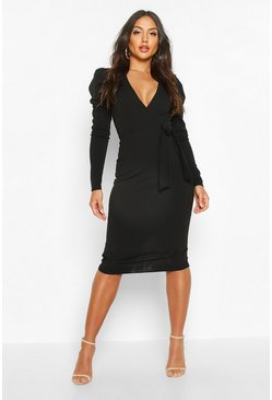Black Wrap Ruched Sleeve Bow Detail Midi Dress