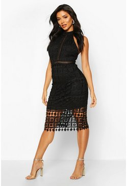 Black High Neck Crochet Lace Midi Dress