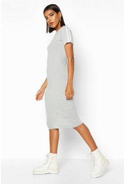 Grey Contrast Stripe Short Sleeve Midi Dress