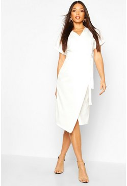 Womens White Wrap Button Belted Midi Dress