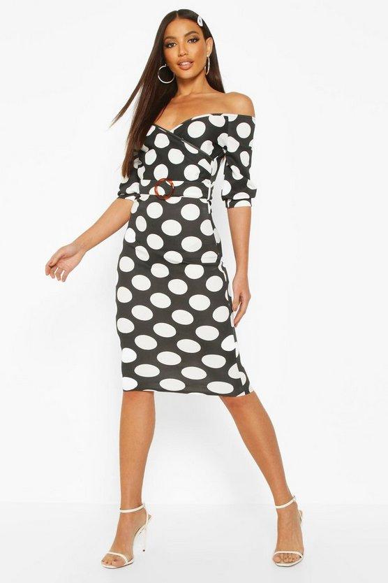 Large Polka Dot Off Shoulder Wrap Midi Dress