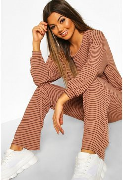 Camel Stripe Rib Crop T-Shirt & Trouser Co-Ord