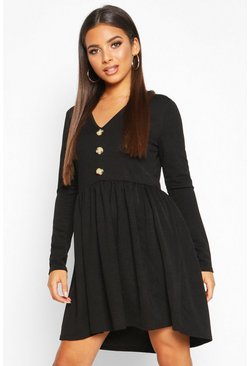 Womens Black Long Sleeve Button Detail Smock Dress