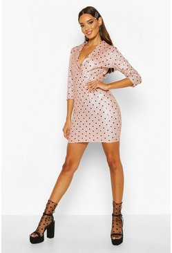 Womens Pink Polka Dot 3/4 Sleeve Blazer Dress