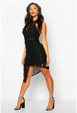 Black High Neck Lattice Trim Asymmetric Mini Dress