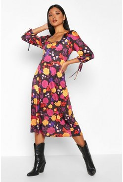 Womens Purple Floral Square Neck Tie Sleeve Midi Skater Dress
