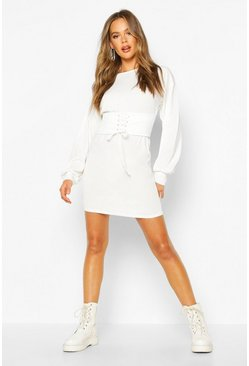 White Corset Detail Rib Long Sleeve Mini Dress