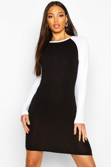 Womens Black Contrast Sleeve Jersey Bodycon Dress