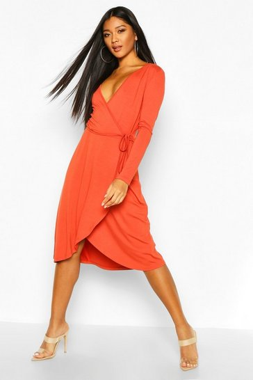 Womens Terracotta Jersey Wrap Front Midi Dress