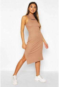 Womens Camel High Neck Slogan Rib Midaxi Dress