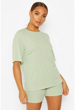 Womens Sage Oversized T-Shirt & Cycling Short Co-Ord