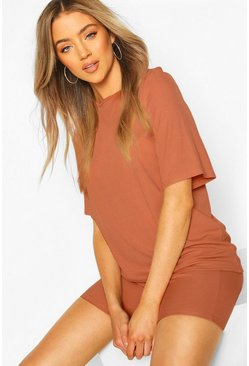 Womens Terracotta Oversized T-Shirt & Cycling Short Co-Ord