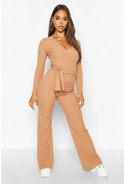Womens Camel Wrap Over Top & Wide Leg Trouser Co-Ord