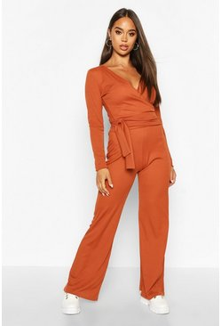 Rust Wrap Over Top & Wide Leg Trouser Co-Ord