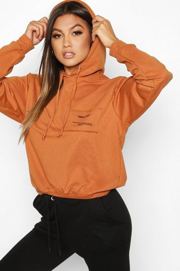 Womens Camel Wear Me Slogan Balloon Sleeve Hoody