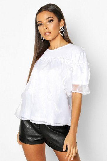 White Organza Ruffle Double Layer T-Shirt