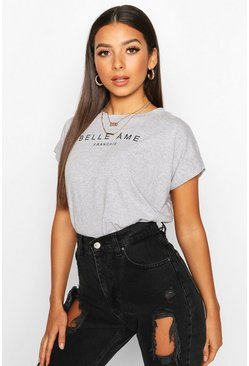 Grey French Slogan Acid Wash Cap Sleeve T-Shirt