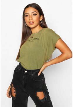 Khaki French Slogan Acid Wash Cap Sleeve T-Shirt