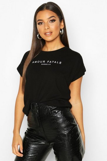 Womens Black Amour Fatale French Slogan T-Shirt