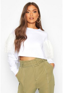 Womens White Organza Ruffle Crop Sweat