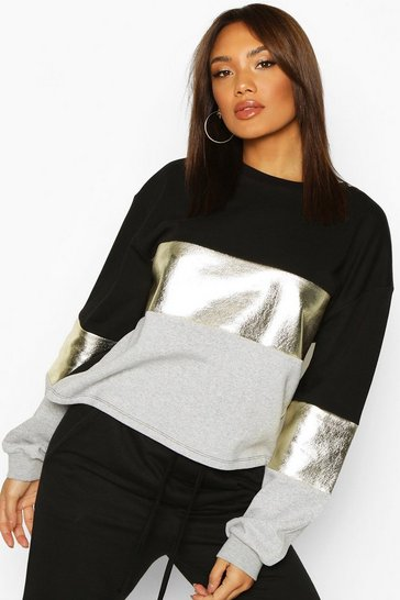 Black Foil Panel Colour Block Sweat