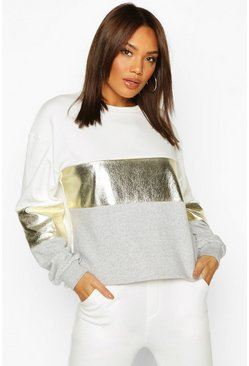 Womens Ivory Foil Panel Colour Block Sweat