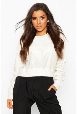 Ivory Teddy Fur Panelled Crop Sweat
