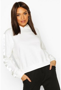 Ivory Satin Side Stripe Hoody