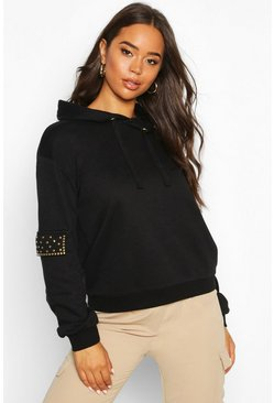Womens Black Studded Pocket Detail Hoody