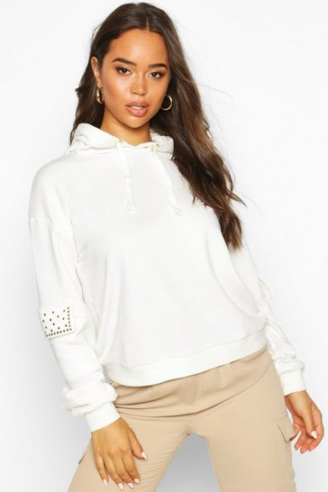 Womens Ivory Studded Pocket Detail Hoody