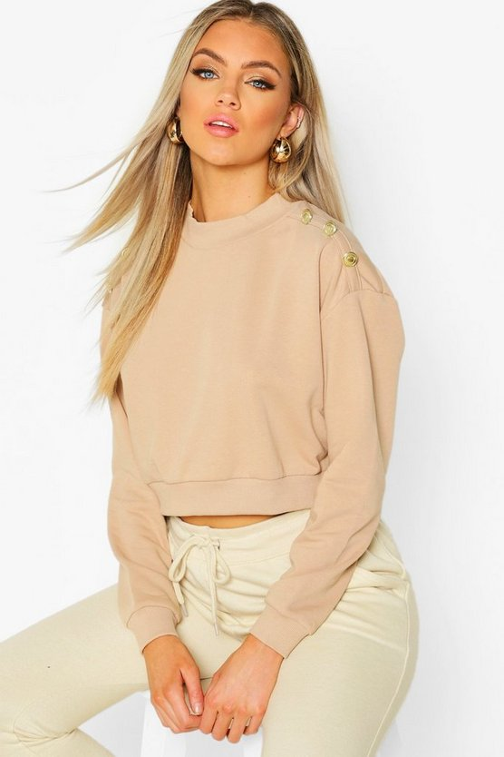 Womens Camel Button Detail High Neck Sweat