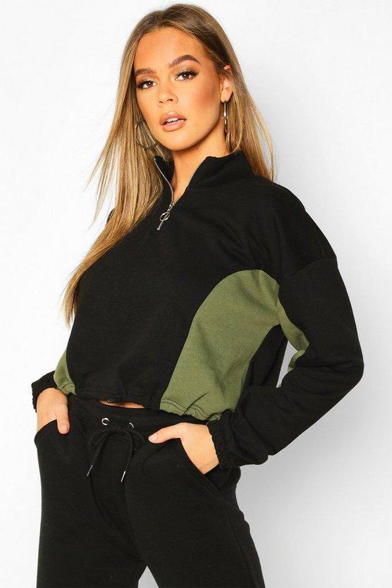 High Neck Colour Block Zip Through Sweater by Boohoo