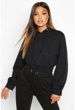 Womens Black Fitted Waist Hoody