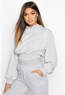 Grey marl Fitted Waist Hoody