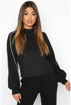 Black Piping Detail Sweatshirt