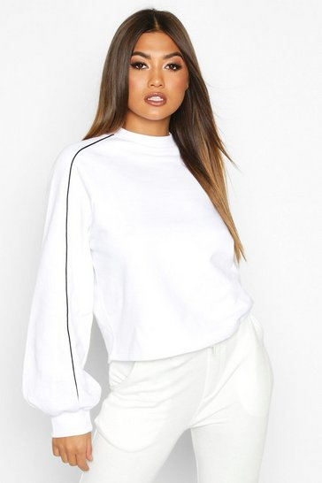 White Piping Detail Sweatshirt