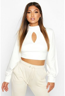 Womens Ecru Cut Out High Neck Crop Sweat