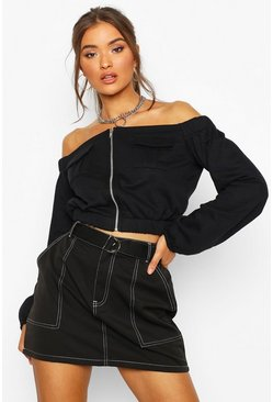 Womens Black Zip Through Utility Pocket Crop Sweat