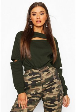Khaki Slash Shoulder & Front Sweat