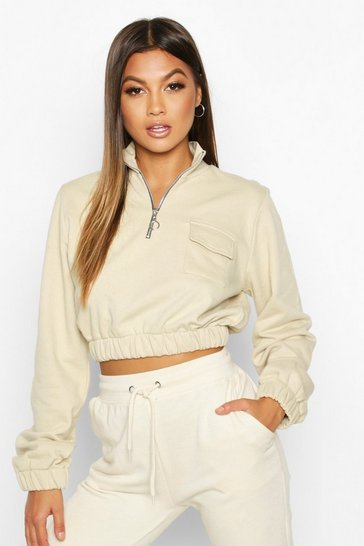 Sand Pocket Detail Half Zip Crop Sweat