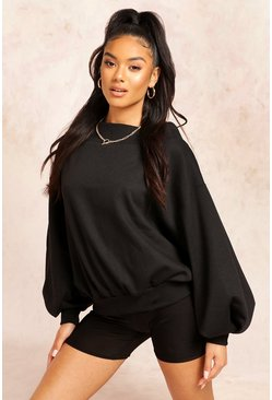 Black Slouch Oversized Slash Neck Sweat