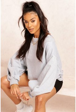 Grey marl Slouch Oversized Slash Neck Sweat