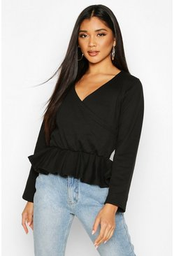 Womens Black Wrap Peplum Sweatshirt