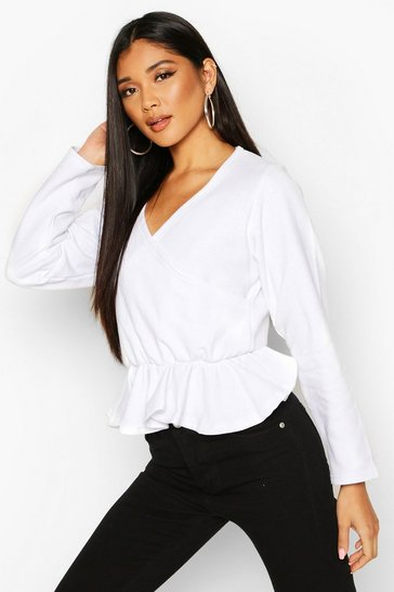 Womens White Wrap Peplum Sweatshirt